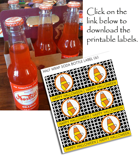 orange soda bottles, candy corn, bottle labels