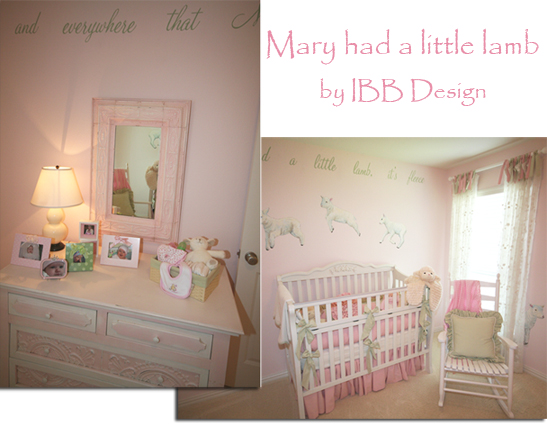 pink nursery, baby girl nursery, white crib, painted dresser, pressed tin, drapery, Mary had a little lamb, themed nurseries