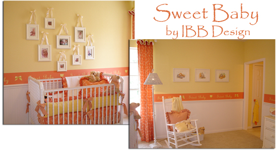 nursery design, nursery decor, white crib, orange nursery, baby room, baby decor